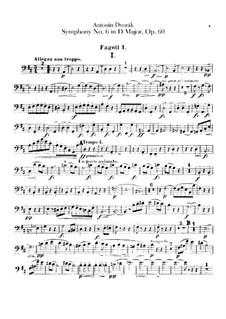 Symphony No.6 in D Major, B.112 Op.60: Bassoons parts by Antonín Dvořák