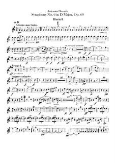 Symphony No.6 in D Major, B.112 Op.60: Horns parts by Antonín Dvořák
