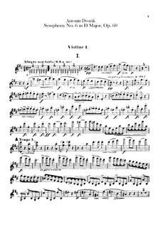 Symphony No.6 in D Major, B.112 Op.60: Violin I part by Antonín Dvořák