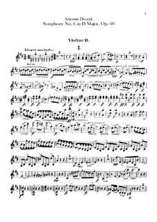 Symphony No.6 in D Major, B.112 Op.60: Violin II part by Antonín Dvořák