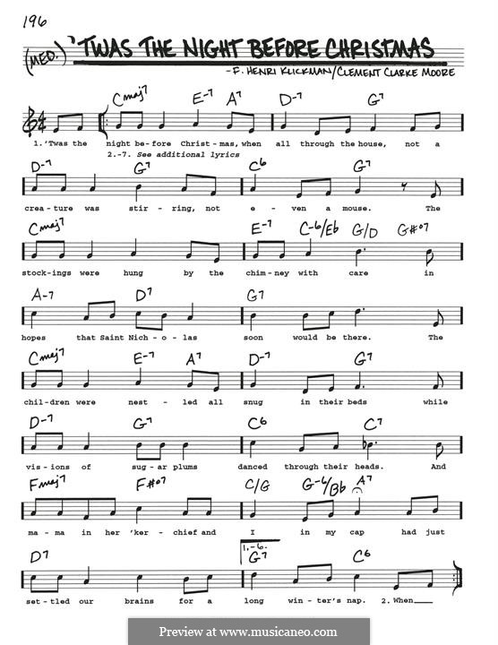 'Twas the Night Before Christmas (Clement Clark Moore): For guitar by Frank Henri Klickmann