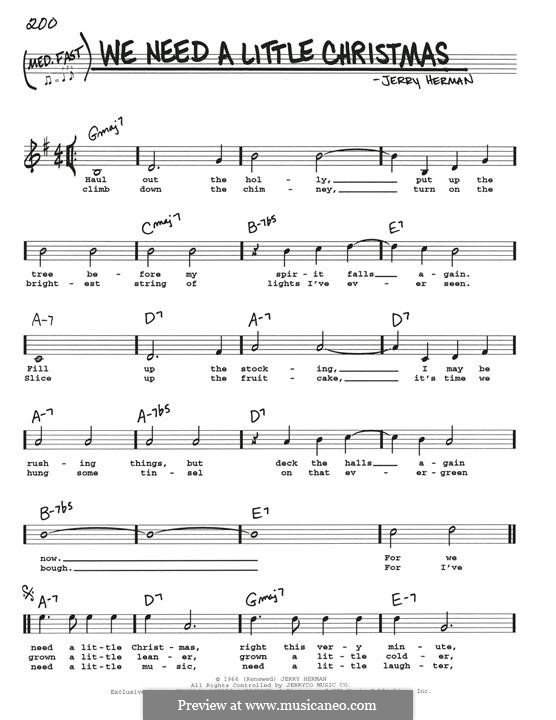 We Need a Little Christmas: For guitar by Jerry Herman