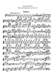 Scherzo Capriccioso, B.131 Op.66: Violin I part by Antonín Dvořák