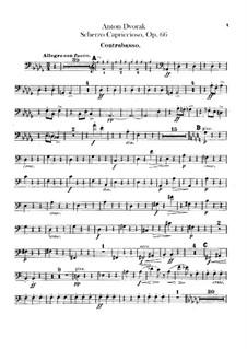 Scherzo Capriccioso, B.131 Op.66: Double bass part by Antonín Dvořák