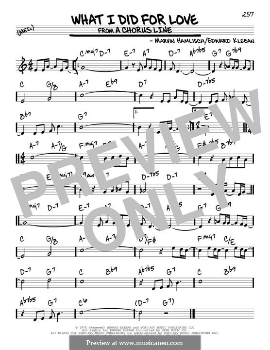 What I Did for Love (Priscilla Lopez): For guitar by Marvin Hamlisch