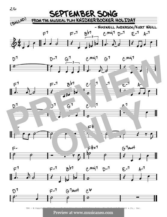September Song: For guitar by Kurt Weill