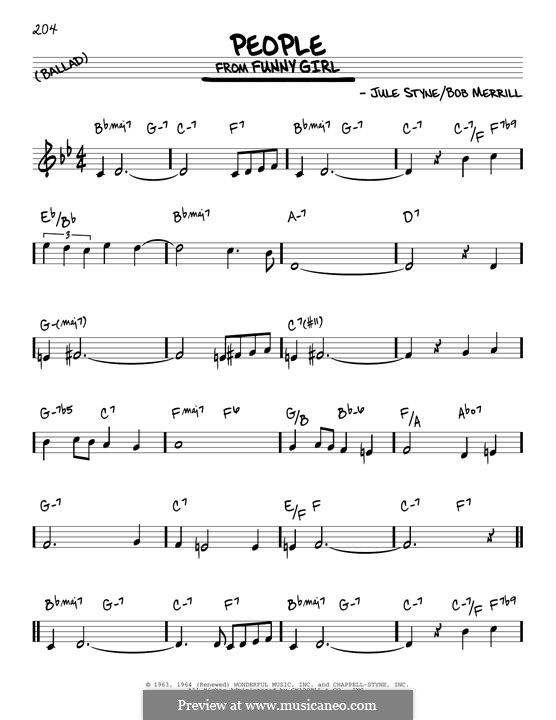 People from Funny Girl (Barbra Streisand): For guitar by Jule Styne