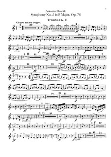 Symphony No.5 in F Major, B.54 Op.76: Trumpets parts by Antonín Dvořák