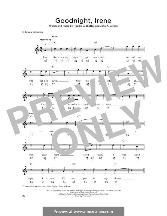 Goodnight, Irene: For harmonica by Huddie Ledbetter, John A. Lomax