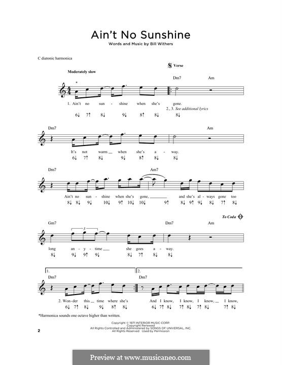 Ain T No Sunshine By B Withers Sheet Music On Musicaneo Aint no sunshine by bill withers chords different versions chords, tab, tabs. for harmonica