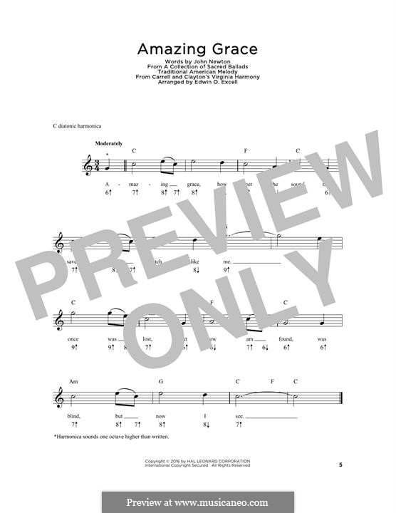 Amazing Grace (Printable Scores): For harmonica by folklore