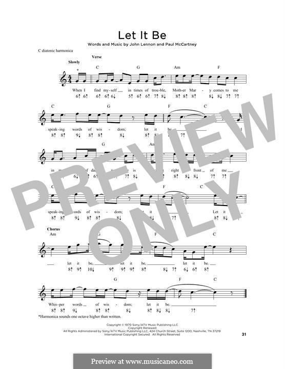Let it Be (The Beatles): For harmonica by John Lennon, Paul McCartney