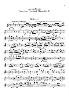 Symphony No.5 in F Major, B.54 Op.76: Violin I part by Antonín Dvořák
