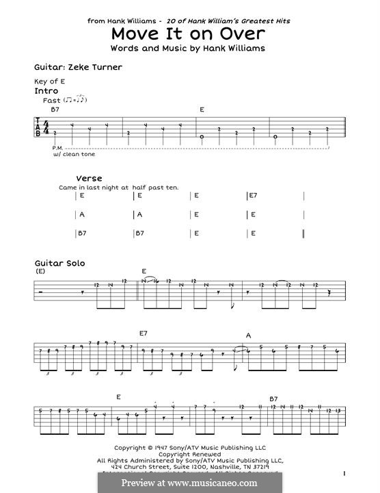 Move It on Over: For guitar by Hank Williams
