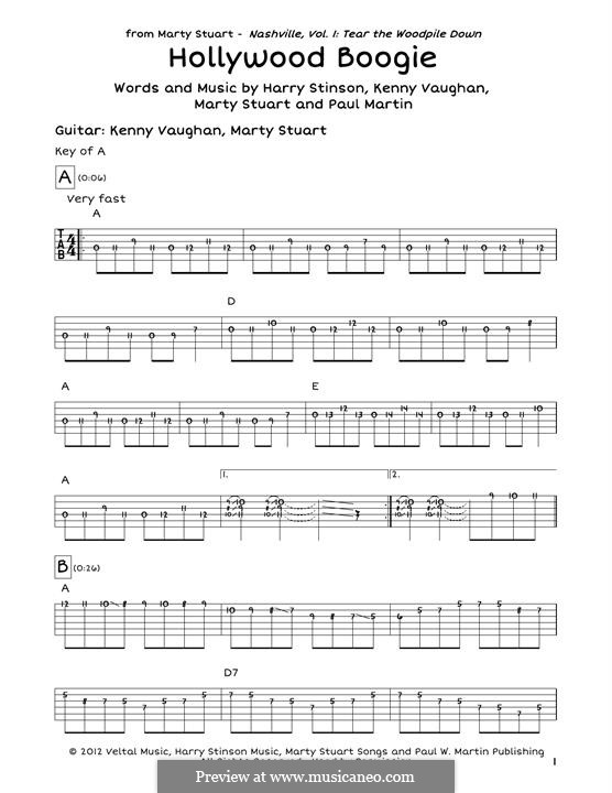 Hollywood Boogie: For guitar by Marty Stuart, Paul Martin, Harry Stinson, Kenny Vaughan
