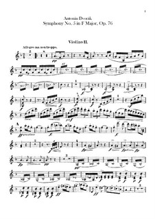 Symphony No.5 in F Major, B.54 Op.76: Violin II part by Antonín Dvořák