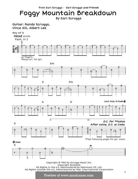Foggy Mountain Breakdown: For guitar by Earl Scruggs