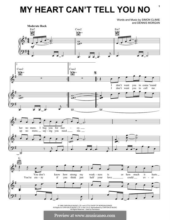 My Heart Can't Tell You No: For voice and piano (or guitar) by Dennis Morgan, Simon Climie