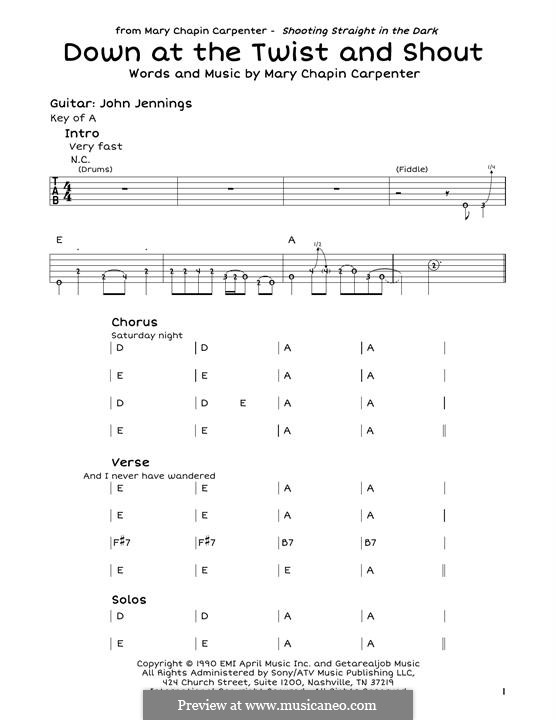 Down at the Twist and Shout by M.C. Carpenter - sheet music on MusicaNeo