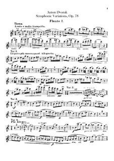 Symphonic Variations on 'Já jsem huslar', B.70 Op.78: Flutes parts by Antonín Dvořák
