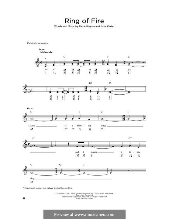 Ring of Fire: For harmonica by June Carter, Merle Kilgore