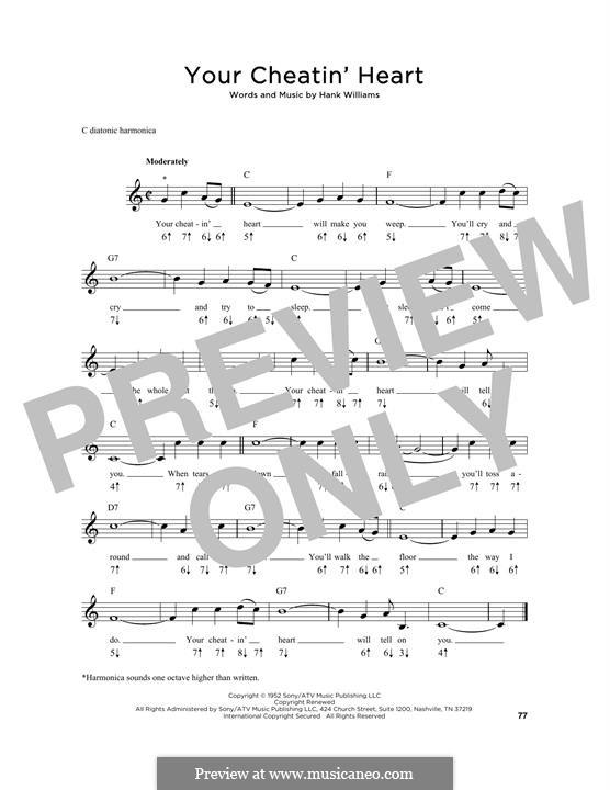 Your Cheatin' Heart: For harmonica by Hank Williams