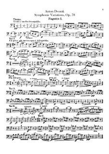 Symphonic Variations on 'Já jsem huslar', B.70 Op.78: Bassoons parts by Antonín Dvořák