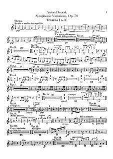 Symphonic Variations on 'Já jsem huslar', B.70 Op.78: Trumpets parts by Antonín Dvořák