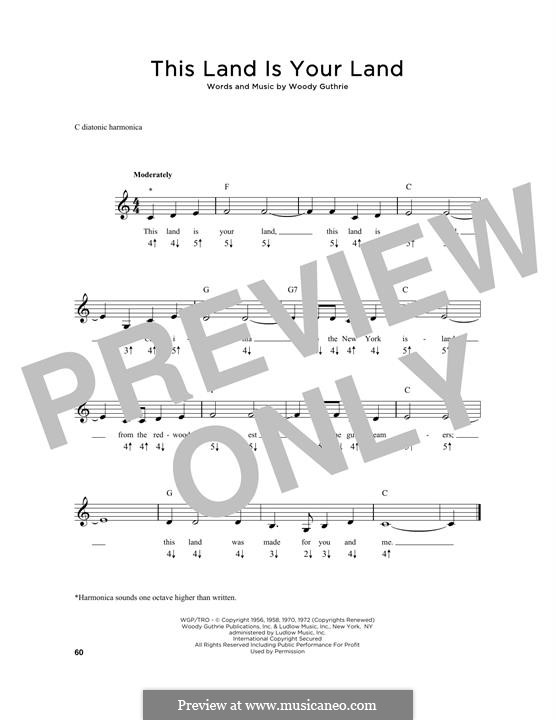 This Land Is Your Land (The New Christy Minstrels): For harmonica by Woody Guthrie