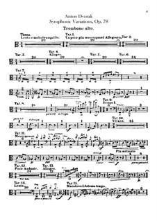 Symphonic Variations on 'Já jsem huslar', B.70 Op.78: Trombones parts by Antonín Dvořák