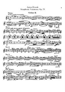 Symphonic Variations on 'Já jsem huslar', B.70 Op.78: Violin II part by Antonín Dvořák