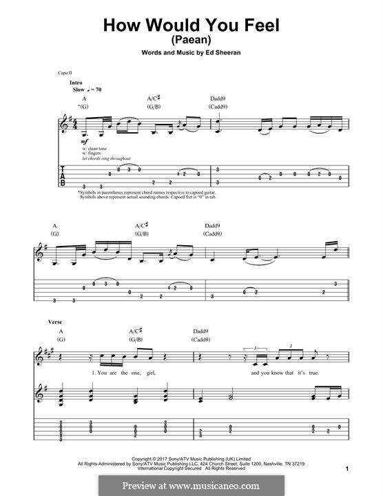 How Would You Feel (Paean): For guitar by Ed Sheeran