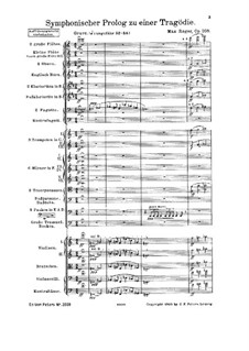 Symphonic Prologue to Tragedy, Op.108: Full score by Max Reger
