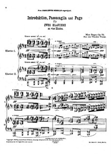 Introduction, Passacaglia and Fugue for Two Pianos Four Hands, Op.96: Introduction, Passacaglia and Fugue for Two Pianos Four Hands by Max Reger