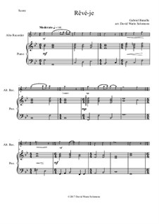Rêvé-je: For alto recorder and piano by Gabriel Bataille