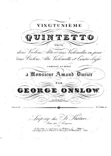 String Quintet No.21 in G Minor, Op.51: Parts by Georges Onslow