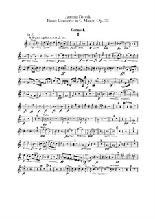 Concerto for Piano and Orchestra in G Minor, B.63 Op.33: Horns parts by Antonín Dvořák