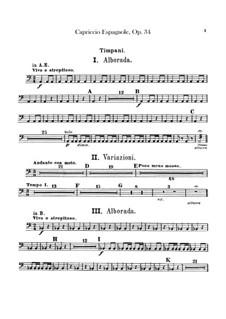 Capriccio Espagnol, Op.34: Percussion parts by Nikolai Rimsky-Korsakov