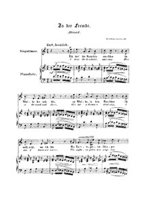 No.8 In der Fremde (Abroad): Piano-vocal score (English and german texts) by Robert Schumann