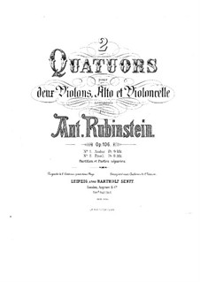 Quartet for Strings No.10 in F Minor, Op.106 No.2: Full score by Anton Rubinstein