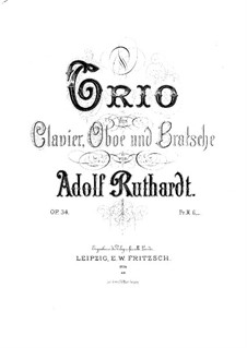 Trio for Oboe, Viola and Piano, Op.34: Full score by Adolf Ruthardt