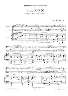Canon for Piano Trio: Full score by Théodore Dubois