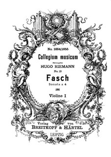 Sonata a 4 in D Minor, Fwv N:d3: Violin I part by Johann Friedrich Fasch