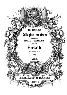 Sonata a 4 in D Minor, Fwv N:d3: Viola part by Johann Friedrich Fasch