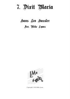 Cantiones Sacrae: No.07 Dixit Maria ad Angelum, for brass quartet by Hans Leo Hassler