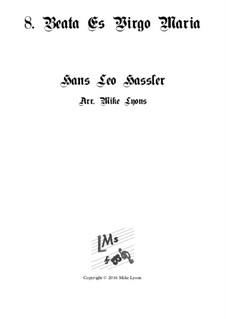 Cantiones Sacrae: No.08 Beata Es Virgo Maria, for brass quartet by Hans Leo Hassler