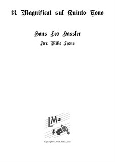 Cantiones Sacrae: No.13 Magnificat on the 5th Tone, for brass quartet by Hans Leo Hassler