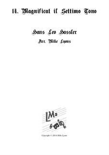 Cantiones Sacrae: No.14 Magnificat on the 7th Tone, for brass quartet by Hans Leo Hassler