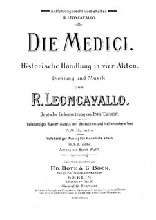 I Medici: Arrangement for Soloists, Choir and Piano by Ruggero Leoncavallo