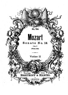 Church Sonata for Orchestra No.16 in C Major, K.329 (317a): Violin II part by Wolfgang Amadeus Mozart